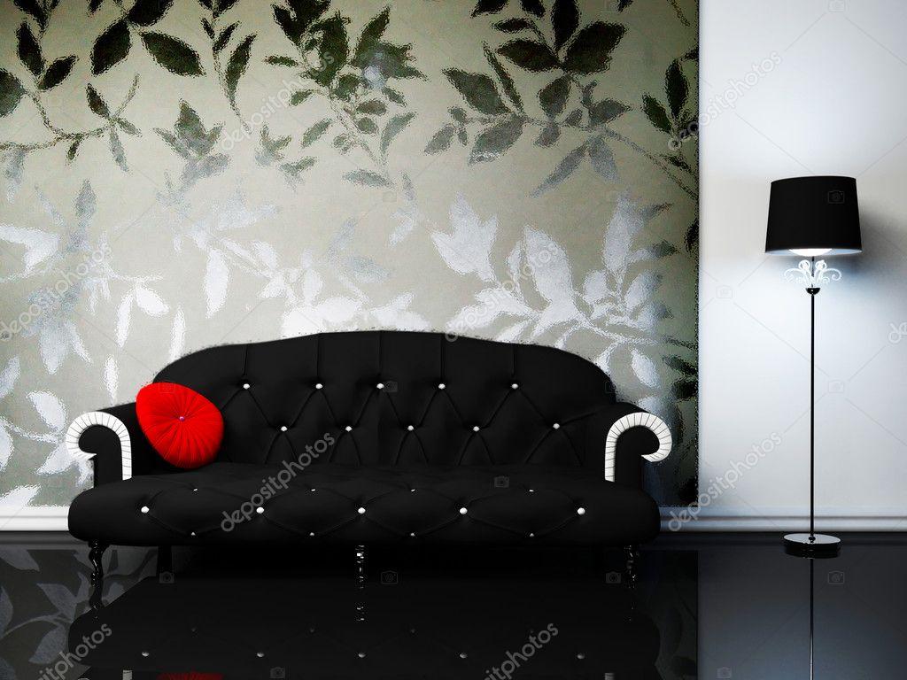 Modern inredning av vardagsrum med en svart soffa och en f ...