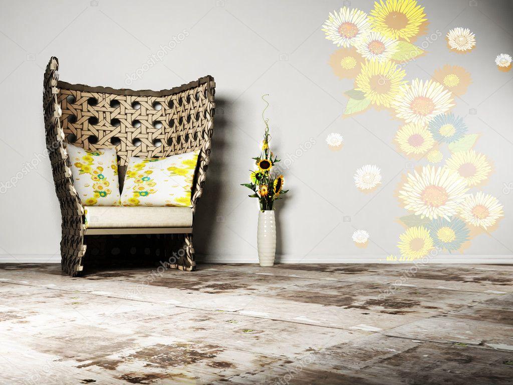 Trevlig inredning och design av vardagsrum med en rotting fåtölj ...