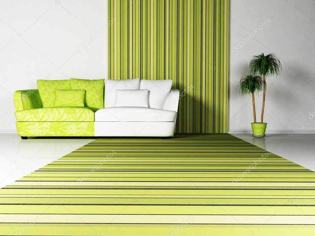 Bright interior desing of living room with a nice sofa and the plant — Stock Photo #5747256