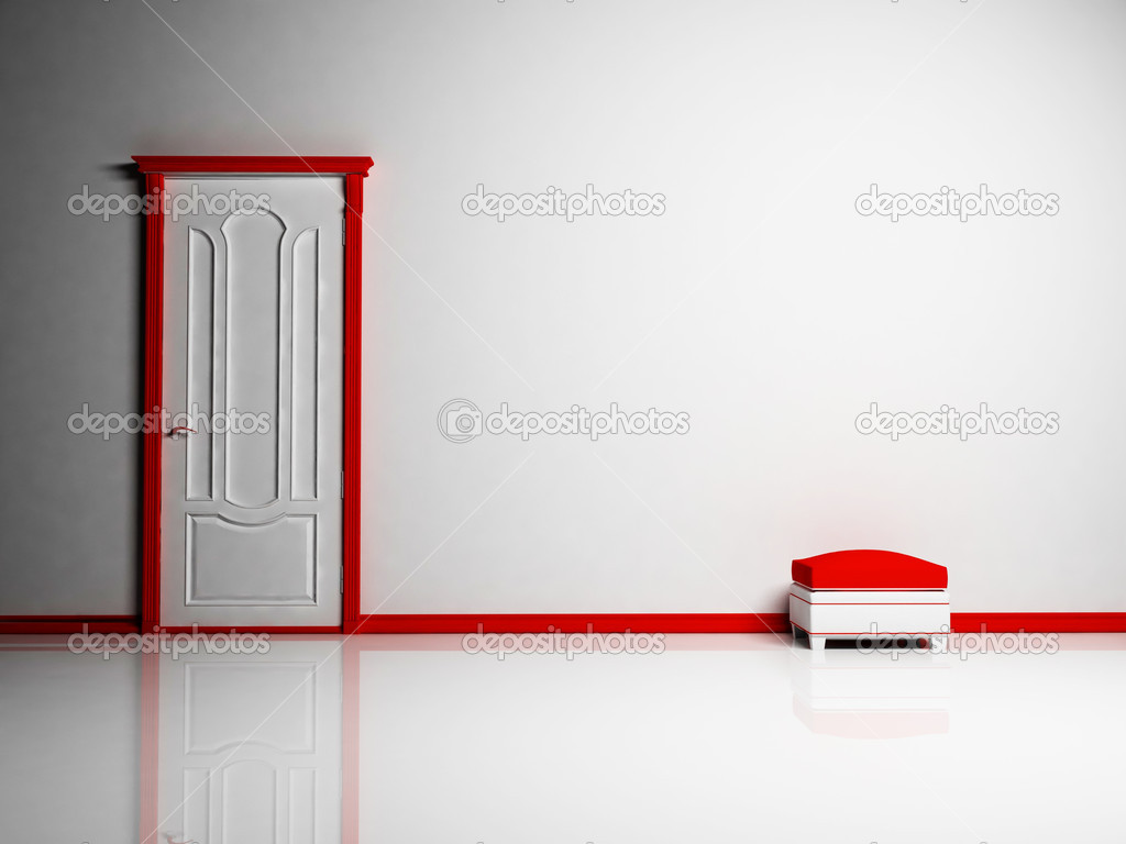 White and red classic door and a pouf in empty bright room  Stock Photo #5747264