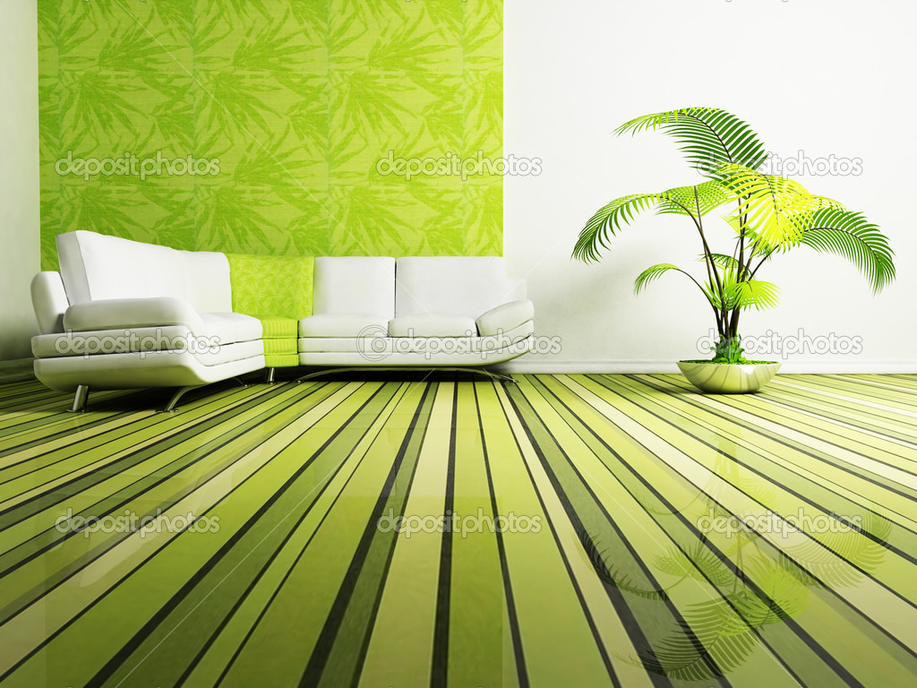 Modern interior design of living room with a sofa and a plant  Stock Photo #5747277