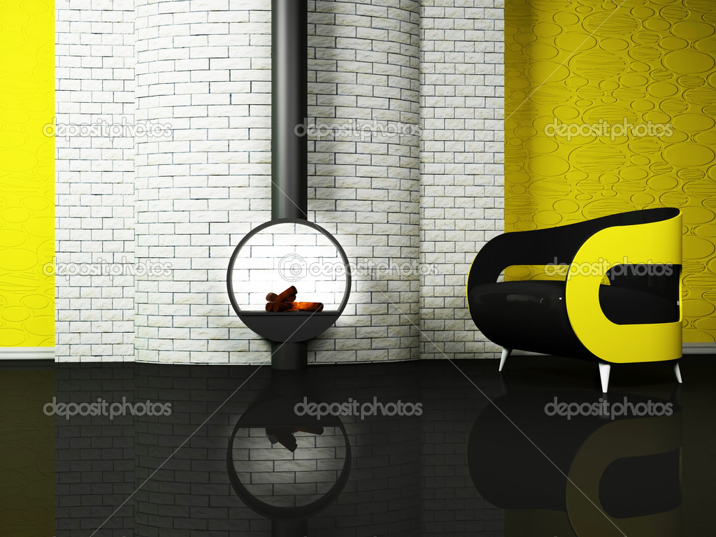 Modern  interior design of living room with a black and yellow sofa and a fireplase — Stock Photo #5747292