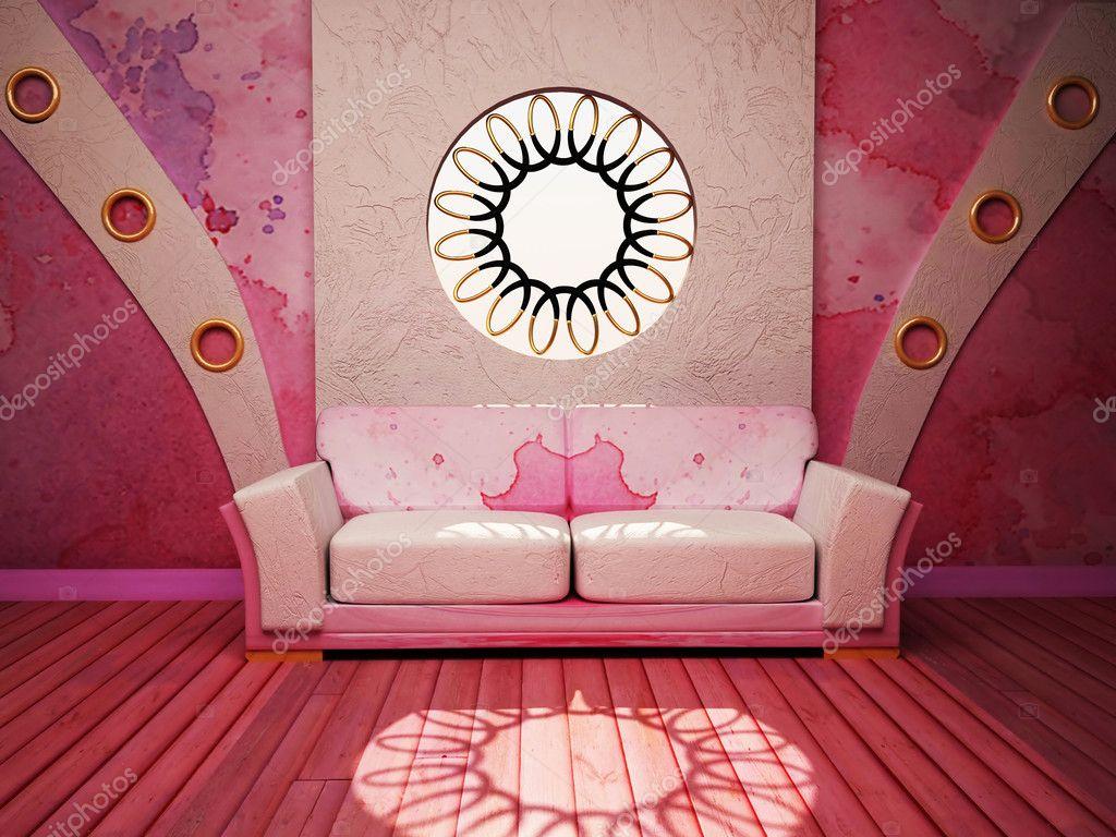 Modern inredning av vardagsrum med en rosa soffa och en w ...
