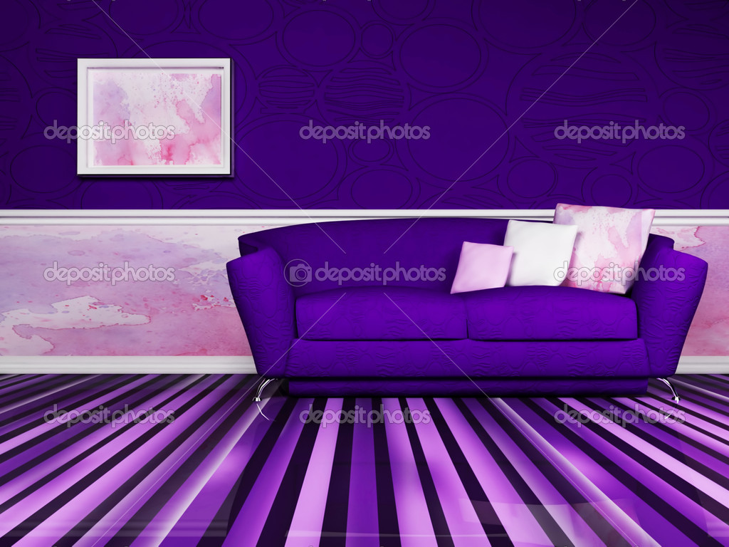 Modern  interior design of living room with a violet  sofa and the picture — Stock Photo #5747389