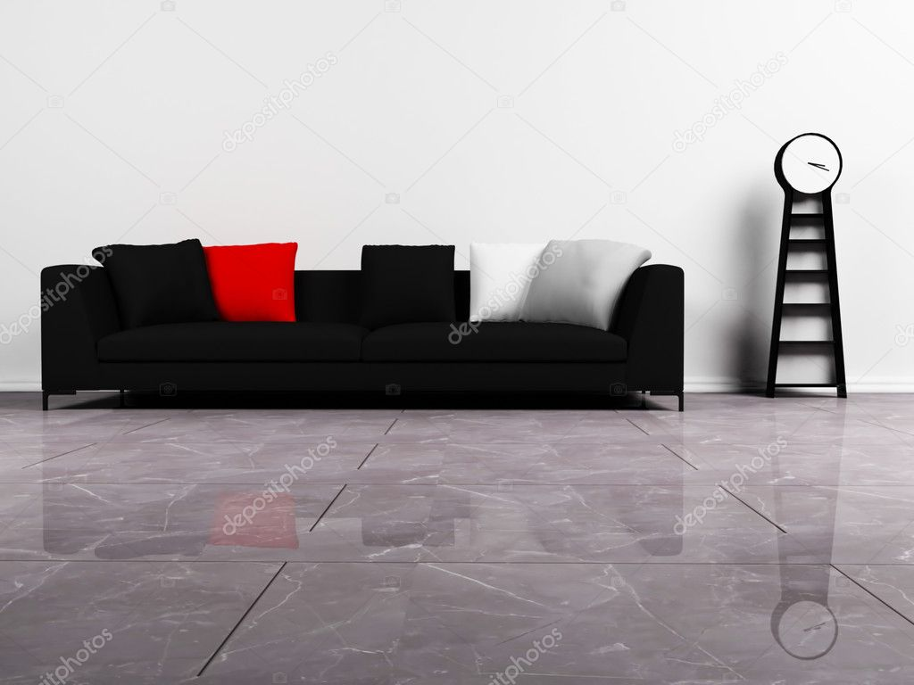 Modern interieur met een zwarte bank en een klok — stockfoto ...