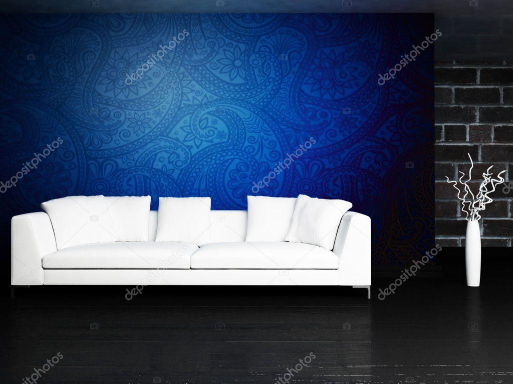 Modern inredning av vardagsrum med en soffa — stockfotografi ...