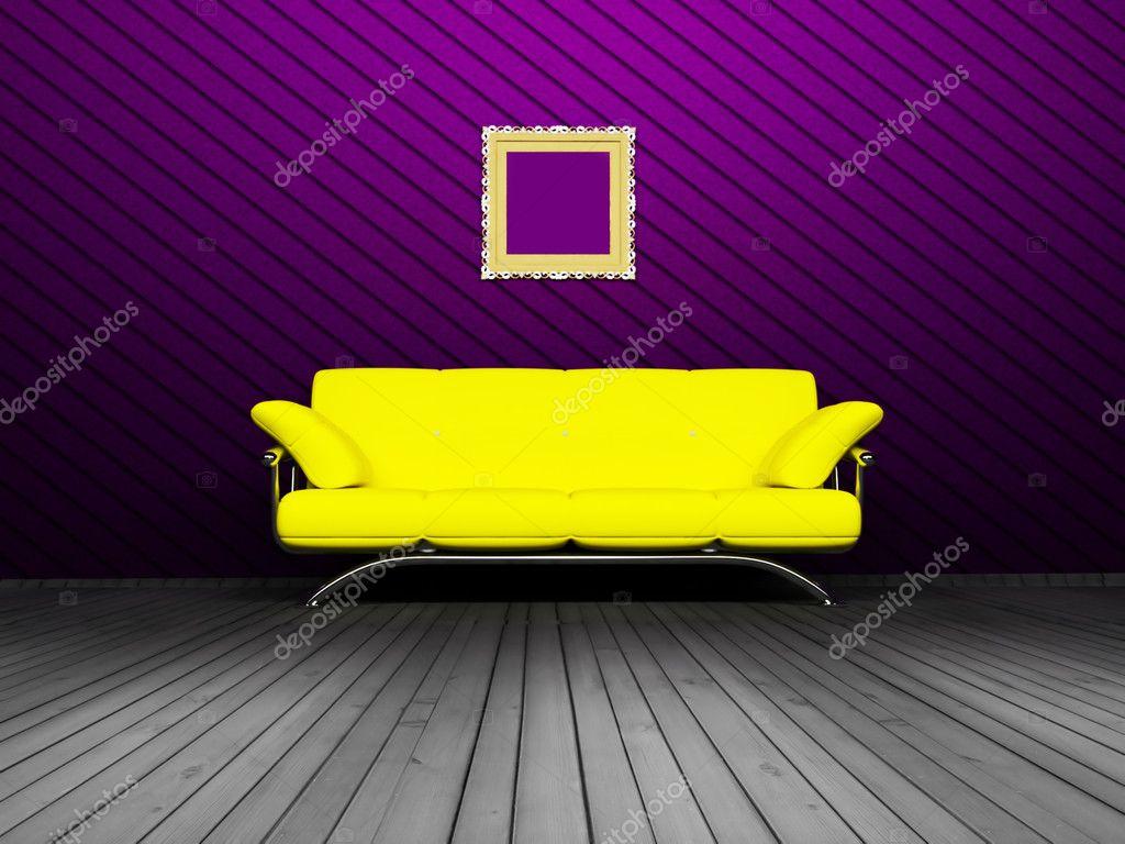 Modern inredning av vardagsrum med gula soffa — stockfotografi ...