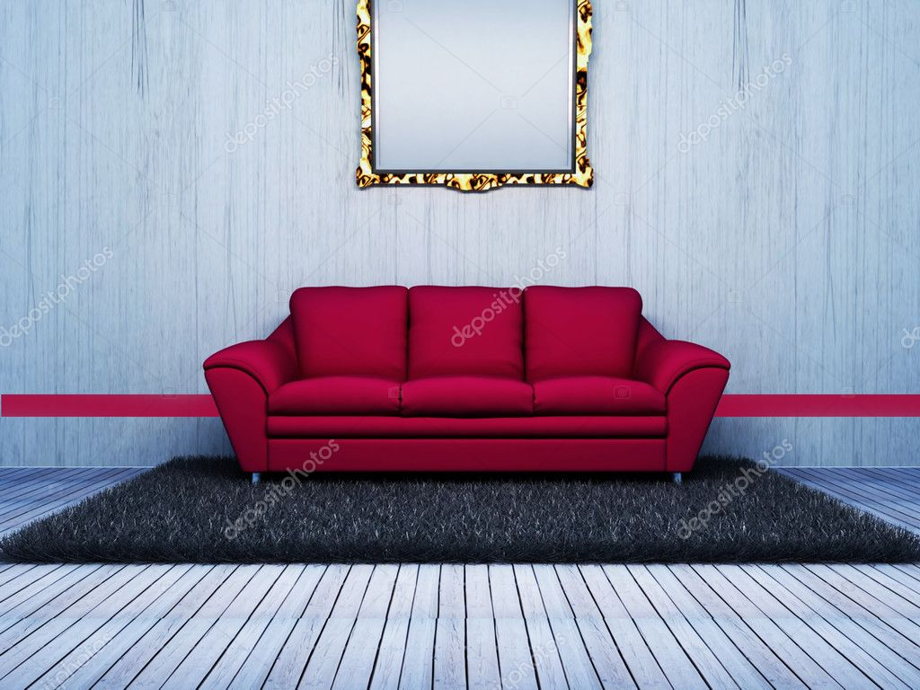 Modern interior design of living room with a pink sofa stock image