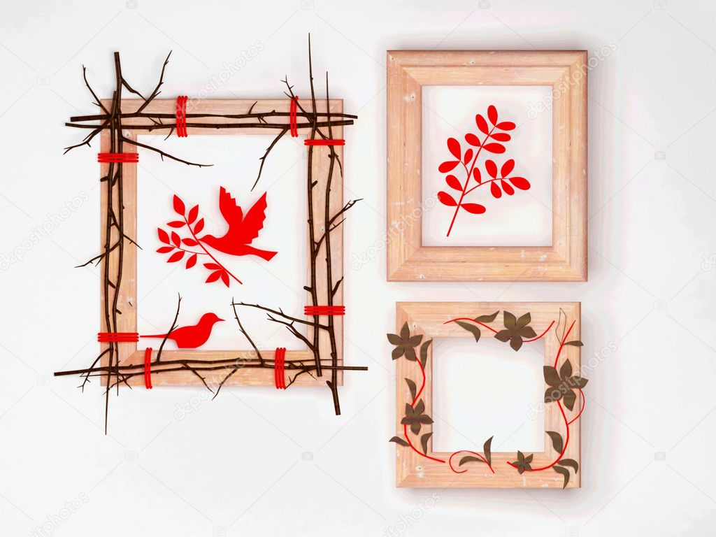 three creative wooden frames stock photo 5846355