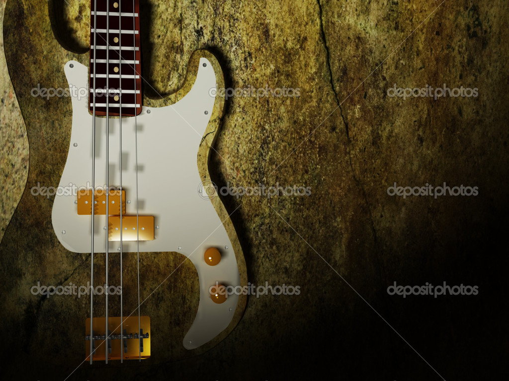 Nice interesting guitar on the grunge background — Stock Photo #6541673