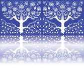 Reflekterade träd — Stockvektor