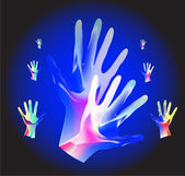 Eight hands — Stock Vector