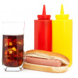 Hot dog and cola glass — Stock Photo