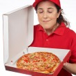 Stock Photo: Pizza delivery woman