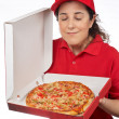 Pizza delivery woman — Stock Photo
