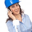 Female architect with phone — Stock Photo