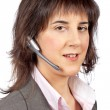 Smiling customer support girl — Stockfoto