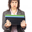 Stock Photo: Busy business woman carrying stacked files