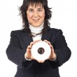 Business woman holding a dvd disc — Stock Photo #5880493