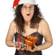 Christmas girl surprised - Stock Photo