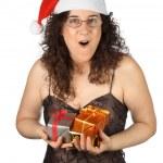Christmas girl surprised — Stock Photo