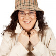 Stock Photo: Womwith raincoat and hat