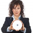 Business woman holding a dvd disc — Stock Photo #5880709