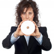 Business woman holding a dvd disc — Stock Photo