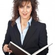 Business woman with book — Stock Photo