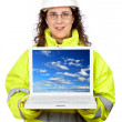 Showing a laptop — Stock Photo #5880838