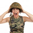 Angered soldier girl - Stock Photo