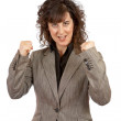 Excited businesswoman gesture — Stock Photo #5880875