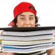Busy student woman — Stock Photo