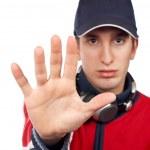 Serious disc jockey saying stop — Stock Photo #5880985