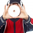 dj holding a disc — Stock Photo