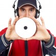 Disc Jockey holding compact disc — Stock Photo #5880994