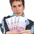 Showing a fan money — Stock Photo