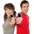 Showing cellphones screens — Stock Photo