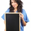 Female doctor holding the chalkboard — Stock Photo