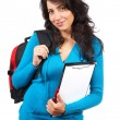 Stock Photo: Young student woman with backpack