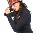 Happy casual woman with hat — Stock Photo #5881235