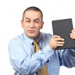 Business man holding a book — Stock Photo