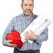 Construction worker holding blueprints — Stock Photo #5881385