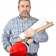 Construction worker holding blueprints — Stock Photo #5881390