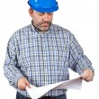 Construction worker holding blueprints — Stock Photo #5881399