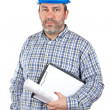 Construction worker holding blueprints — Stock Photo #5881405