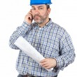 Construction worker talking with phone — Stock Photo