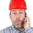 Surprised construction worker — Stock Photo