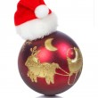 Red ball with Christma hat — Stock Photo #5881627