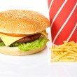 Cheeseburger, soda drinks and french fries — Stock Photo